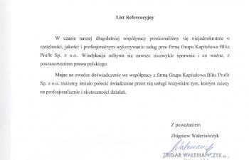 Referencja Zbidar Walerianczyk SP J
